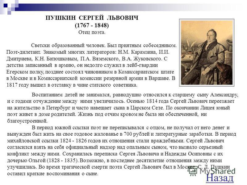 ПУШКИН ВАСИЛИЙ ЛЬВОВИЧ (1766 - 1830) Дядя поэта, поэт, автор нашумевшей поэмы