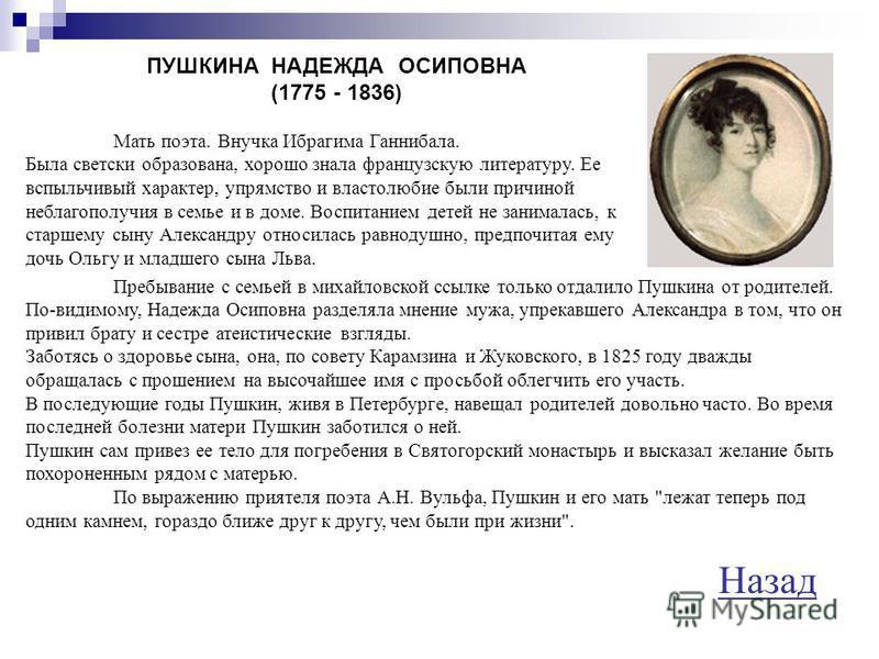 ГАННИБАЛ ОСИП АБРАМОВИЧ (1744 - 1806) Дед Пушкина, капитан второго ранга флота артиллерии. В своей автобиографии поэт пишет: Дед мой, Осип Абрамович (настоящее имя его было Януарий, но прабабушка моя не согласилась звать его этим именем, трудным для