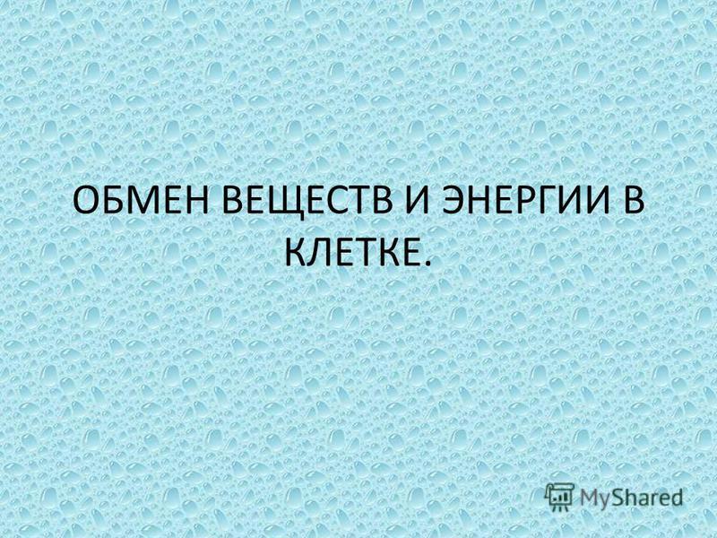 ОБМЕН ВЕЩЕСТВ И ЭНЕРГИИ В КЛЕТКЕ.