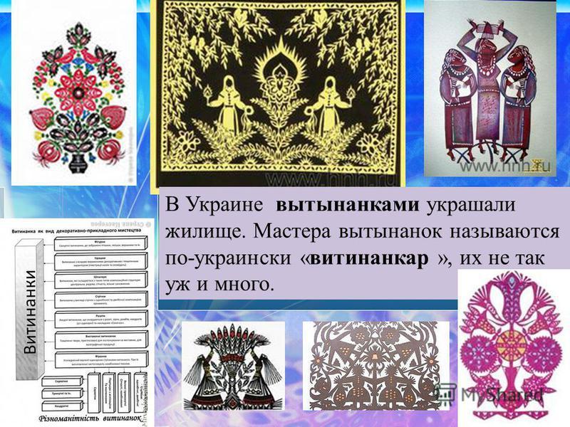 В Украине вытынанками украшали жилище. Мастера вытынанок называются по-украински «витинанкар », их не так уж и много.