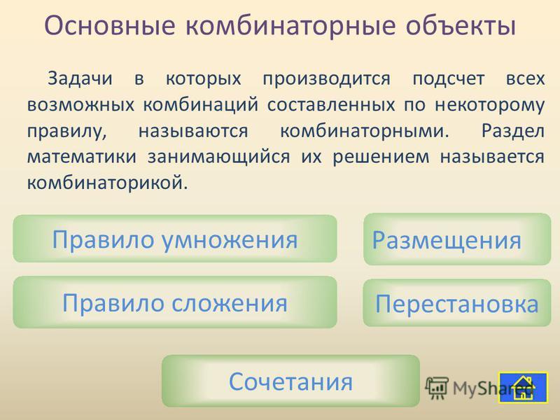 Основные комбинаторные объекты Правило умножения Сочетания Перестановка Размещения Правило сложения Задачи в которых производится подсчет всех возможных комбинаций составленных по некоторому правилу, называются комбинаторными. Раздел математики заним