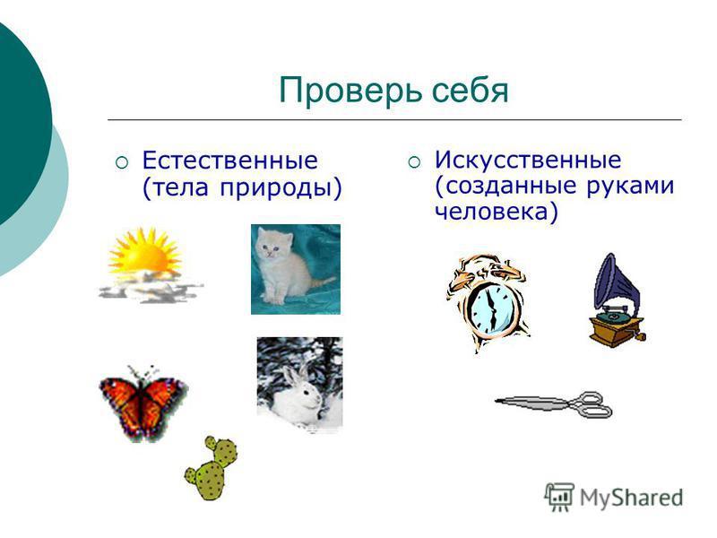 Проверь себя Естественные (тела природы) Искусственные (созданные руками человека)