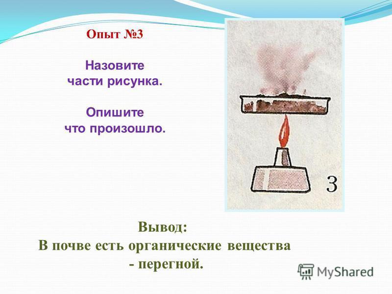 Вывод: В почве есть органические вещества - перегной. Опыт 3 Назовите части рисунка. Опишите что произошло.