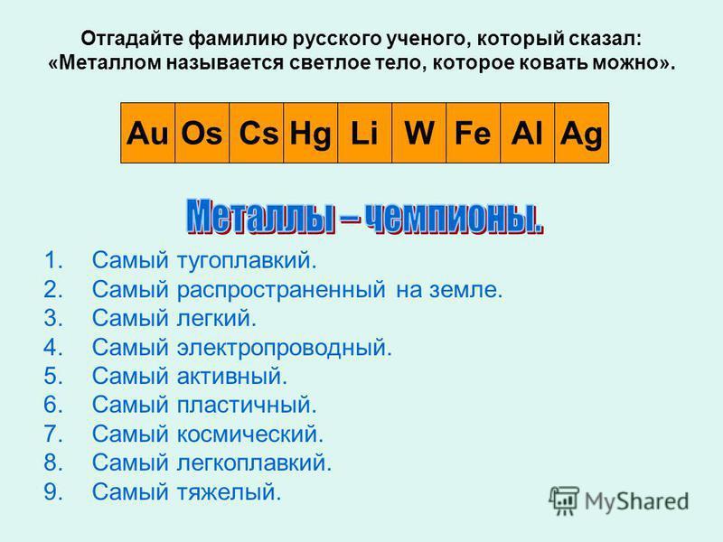 Отгадайте фамилию русского ученого, который сказал: «Металлом называется светлое тело, которое ковать можно». 1. Самый тугоплавкий. 2. Самый распространенный на земле. 3. Самый легкий. 4. Самый электропроводный. 5. Самый активный. 6. Самый пластичный