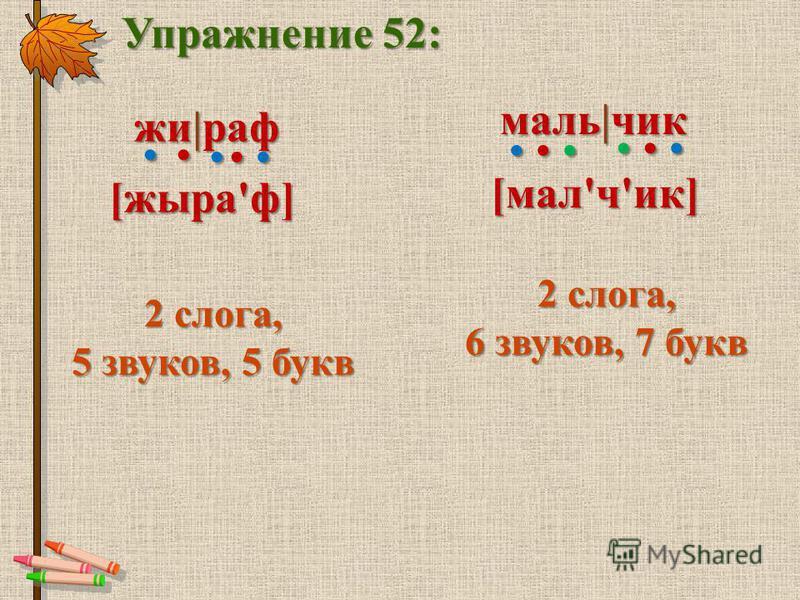 Упражнение 52: же|раф 2 слога, 5 звуков, 5 букв [жыра'ф] маль|чик [мал'ч'ик] 2 слога, 6 звуков, 7 букв...........