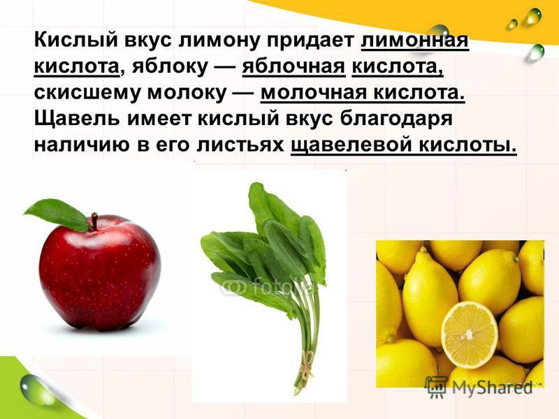 Кислый вкус лимону придает лимонная кислота, яблоку яблочная кислота, скисшему молоку молочная кислота. Щавель имеет кислый вкус благодаря наличию в его листьях щавелевой кислоты.