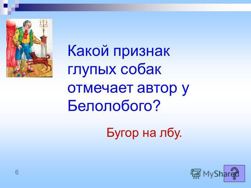 Какой признак глупых собак отмечает автор у Белолобого? Бугор на лбу. 6