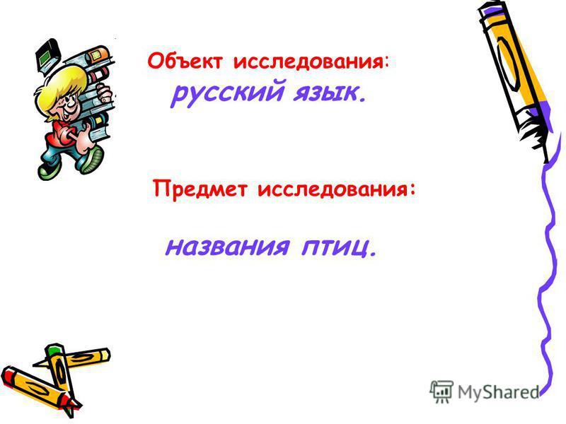 Объект исследования: русский язык. Предмет исследования: названия птиц.