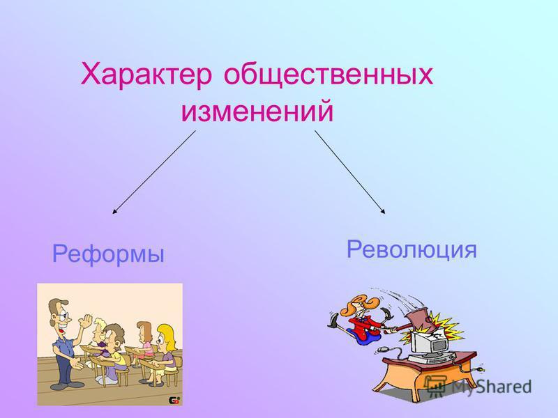 Характер общественных изменений Реформы Революция
