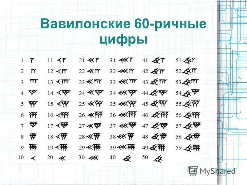 Вавилонские 60-ричные цифры