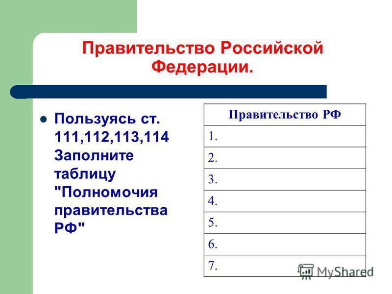 Правительство Российской Федерации. Пользуясь ст. 111,112,113,114 Заполните таблицу Полномочия правительства РФ Правительство РФ 1. 2. 3. 4. 5. 6. 7.