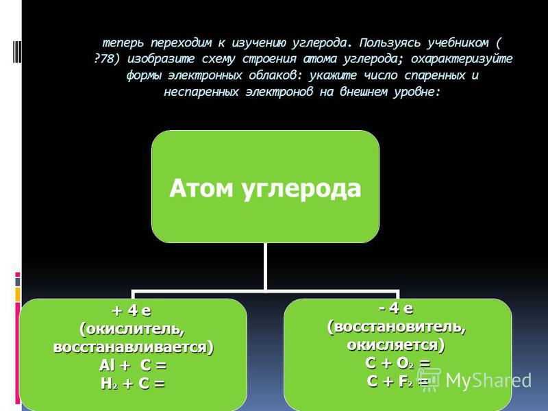 Порядковый номер – 6 Строение атома: протонов – 6, нейтронов – 6, электронов – 6 Энергетических уровней – 2 Число электронов на последнем уровне – 4 Максимальная степень окисления + 4 Минимальная степень окисления -4 Углерод