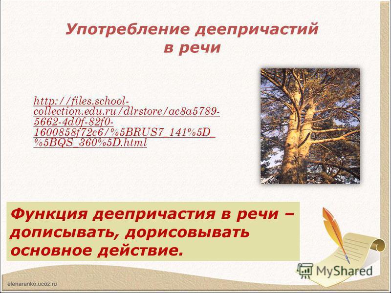 Употребление деепричастий в речи http://files.school- collection.edu.ru/dlrstore/ac8a5789- 5662-4d0f-82f0- 1600858f72c6/%5BRUS7_141%5D_ %5BQS_360%5D.html Прочитайте отрывок из сказки-были М.М.Пришвина. Какими средствами языка создается яркое, образно