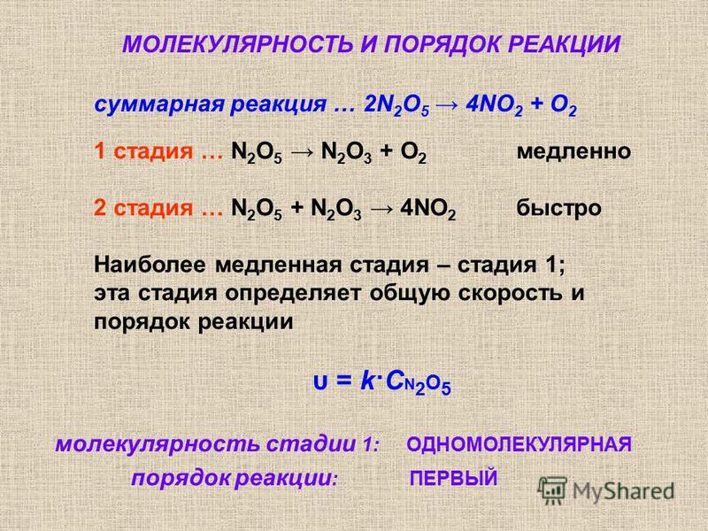 суммарная реакция … 2N 2 O 5 4NO 2 + O 2 1 стадия … N 2 O 5 N 2 O 3 + O 2 медленно 2 стадия … N 2 O 5 + N 2 O 3 4NO 2 быстро Наиболее медленная стадия – стадия 1; эта стадия определяет общую скорость и порядок реакции υ = k·С N 2 O 5 молекулярность с