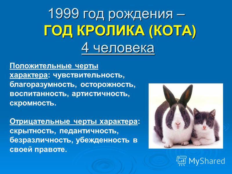1999 год рождения – ГОД КРОЛИКА (КОТА) 4 человека Положительные черты характера: чувствительность, благоразумность, осторожность, воспитанность, артистичность, скромность. Отрицательные черты характера: скрытность, педантичность, безразличность, убеж
