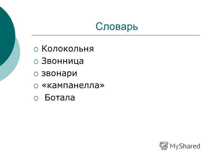 Словарь Колокольня Звонница звонари «кампанелла» Ботала