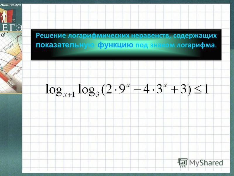 Решение логарифмических неравенств, содержащих показательную функцию под знаком логарифма.
