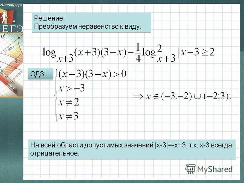 ОДЗ: На всей области допустимых значений  x-3 =-x+3, т.к. х-3 всегда отрицательное. Решение: Преобразуем неравенство к виду: Решение: Преобразуем неравенство к виду: