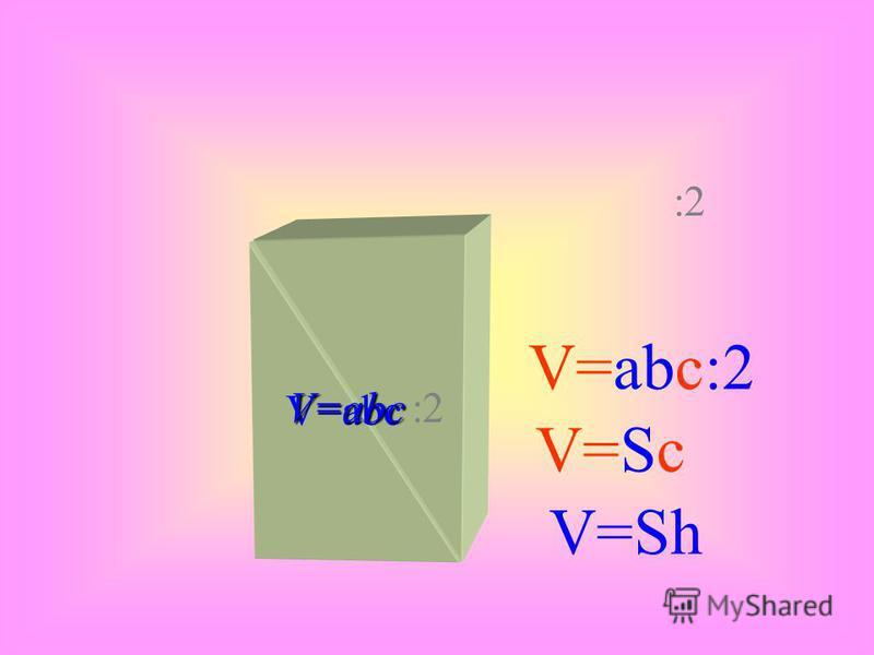 А А1А1 В В1В1 С С1С1 Д Д1Д1 Следствие 1: Объем прямоугольного параллелепипеда равен произведению площади основания на высоту. V = Soc*h, т.к. Sос.=a*b;h=c Следствие 2: Объем прямой призмы, основанием которой является прямоугольный треугольник равен п