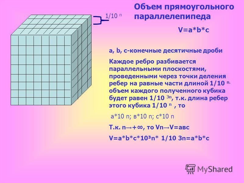 с а b V=abc Напомним формулу объёма прямоугольного параллелепипеда.