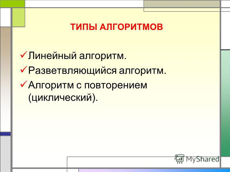 ТИПЫ АЛГОРИТМОВ Линейный алгоритм. Разветвляющийся алгоритм. Алгоритм с повторением (циклический).
