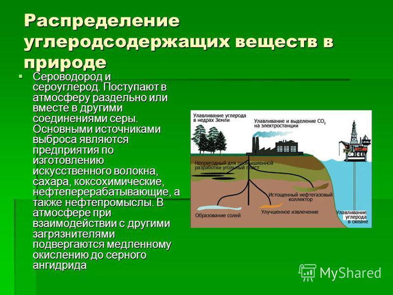 Распределение углеродсодержащих веществ в природе Сероводород и сероуглерод. Поступают в атмосферу раздельно или вместе в другими соединениями серы. Основными источниками выброса являются предприятия по изготовлению искусственного волокна, сахара, ко