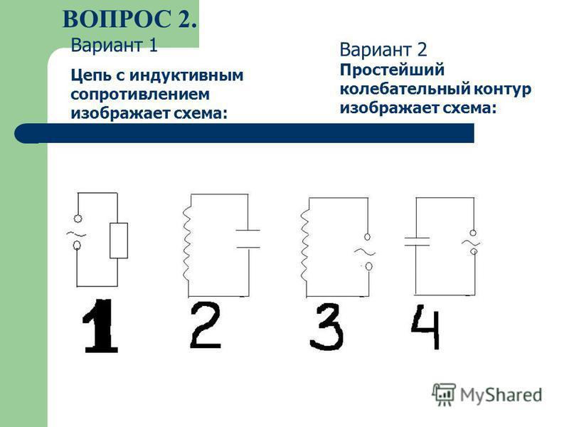 ВОПРОС 2. Вариант 1 Цепь с индуктивным сопротивлением изображает схема: Вариант 2 Простейший колебательный контур изображает схема:
