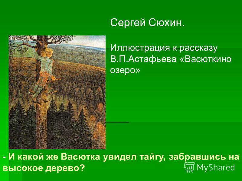 Сергей Сюхин. Иллюстрация к рассказу В.П.Астафьева «Васюткино озеро» - И какой же Васютка увидел тайгу, забравшись на высокое дерево?