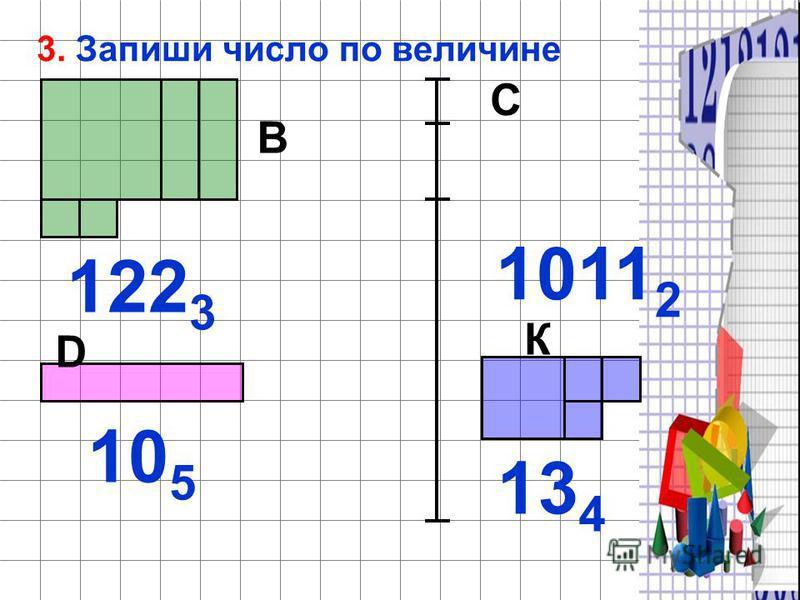 С 3. Запиши число по величине 122 3 В 1011 2 10 5 D К 13 4