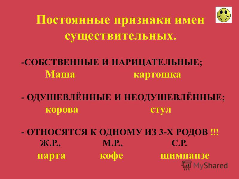 -СОБСТВЕННЫЕ И НАРИЦАТЕЛЬНЫЕ; Маша картошка - ОДУШЕВЛЁННЫЕ И НЕОДУШЕВЛЁННЫЕ; корова стул - ОТНОСЯТСЯ К ОДНОМУ ИЗ 3-Х РОДОВ !!! Ж.Р., М.Р., С.Р. парта кофе шимпанзе Постоянные признаки имен существительных.