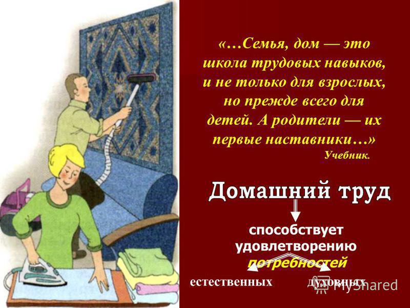 «…Семья, дом это школа трудовых навыков, и не только для взрослых, но прежде всего для детей. А родители их первые наставники…» Учебник. способствует удовлетворению потребностей естественных духовных