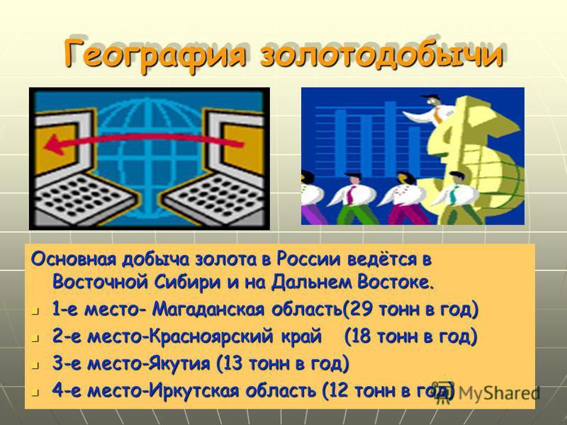 География золотодобычи Основная добыча золота в России ведётся в Восточной Сибири и на Дальнем Востоке. 1-е место- Магаданская область(29 тонн в год) 1-е место- Магаданская область(29 тонн в год) 2-е место-Красноярский край (18 тонн в год) 2-е место-