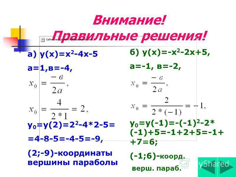 Задание 2 Найти кординаты вершины параболы а) у(х)=х 2 -4 х-5, б) у(х)=-х 2 -2 х+5.