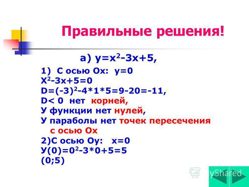Задание 3 Найти кординаты точек пересечьения параболы с осями кординат? ( с осью Ох, с осью Оу ) а) у=х 2 -3 х+5, б) у=-2 х 2 +8.