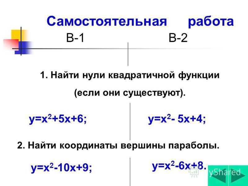 Правильные решения! у = -2 х 2 +8, 1) С осью ОХ: у=… -2 х 2 +8=0, -2 х 2 =… Х 2 =… Х 1,2 =±4, Х 1,2 =… (2;0);(-2;0)-кординаты точек пересечьения с осью Ох 2) С осью Оу: х=0 у=у(0)=-2*0 2 +8=8 (0;8)-кординаты точки перес. с осью Оу. 0, ±2; 4, -8,