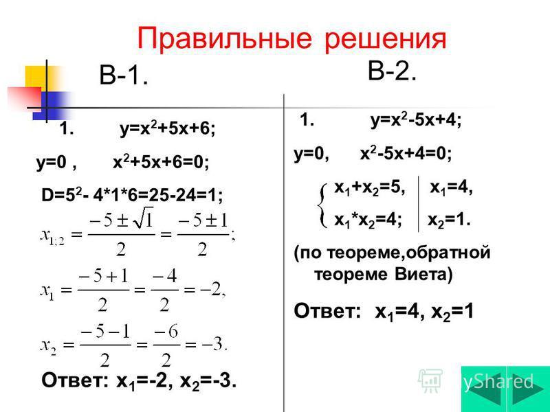 Самостоятельная работа В-1В-2 1. Найти нули квадратичной функции (если они существуют). у=х 2 +5 х+6;у=х 2 - 5 х+4; 2. Найти кординаты вершины параболы. у=х 2 -10 х+9; у=х 2 -6 х+8.