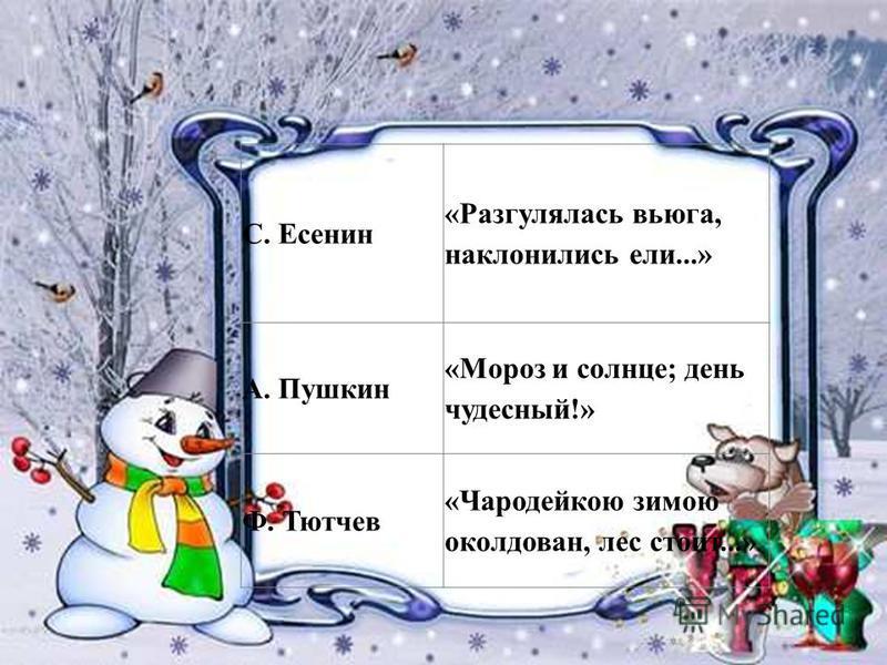 С. Есенин «Разгулялась вьюга, наклонились ели...» А. Пушкин «Мороз и солнце; день чудесный!» Ф. Тютчев «Чародейкою зимою околдован, лес стоит...»