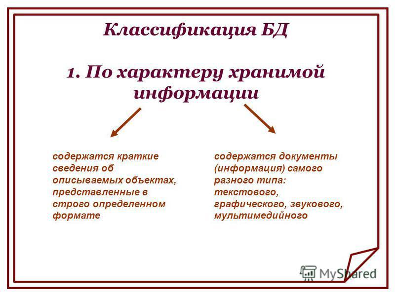 Классификация БД 1. По характеру хранимой информации содержатся краткие сведения об описываемых объектах, представленные в строго определенном формате содержатся документы (информация) самого разного типа: текстового, графического, звукового, мультим