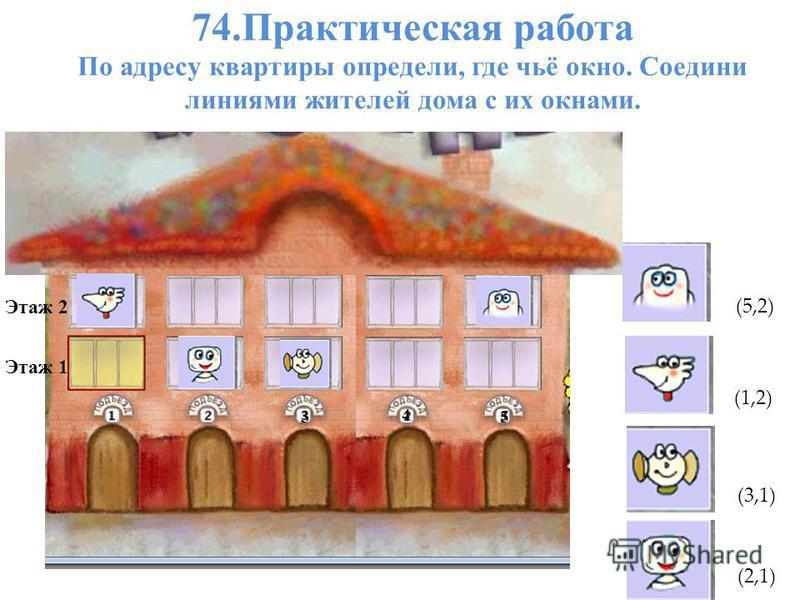74. Практическая работа По адресу квартиры определи, где чьё окно. Соедини линиями жителей дома с их окнами. Этаж 2 Этаж 1 3 54 5 (5,2) (1,2) (3,1) (2,1)