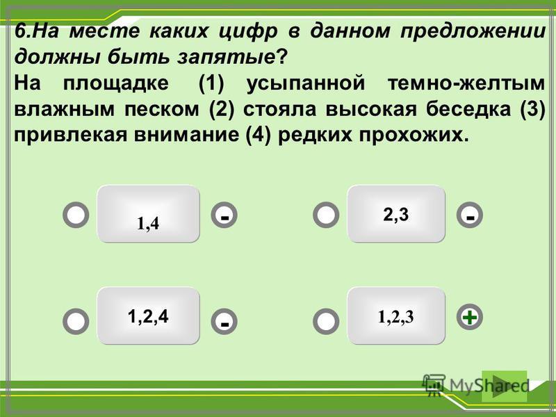 2,3 1,4 1,2,4 1,2,3 -- + - 6. На месте каких цифр в данном предложении должны быть запятые? На площадке (1) усыпанной темно-желтым влажным песком (2) стояла высокая беседка (3) привлекая внимание (4) редких прохожих.
