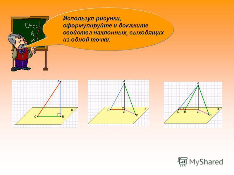 Используя рисунки, сформулируйте и докажите свойства наклонных, выходящих из одной точки.