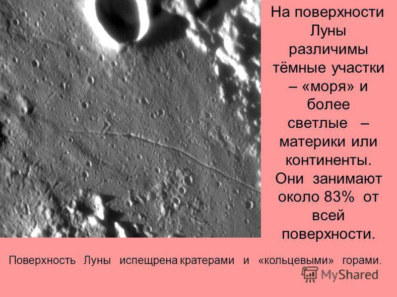 На поверхности Луны различимы тёмные участки – «моря» и более светлые – материки или континенты. Они занимают около 83% от всей поверхности. Поверхность Луны испещрена кратерами и «кольцевыми» горами.