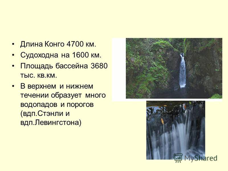 Длина Конго 4700 км. Судоходна на 1600 км. Площадь бассейна 3680 тыс. кв.км. В верхнем и нижнем течении образует много водопадов и порогов (вдп.Стэнли и вдп.Левингстона)