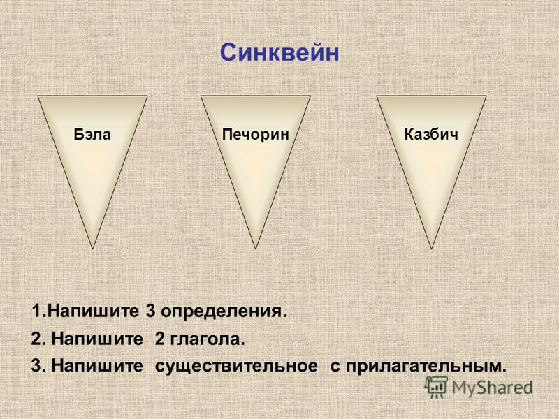Синквейн 1. Напишите 3 определения. 2. Напишите 2 глагола. 3. Напишите существительное с прилагательным. Бэла ПечоринКазбич