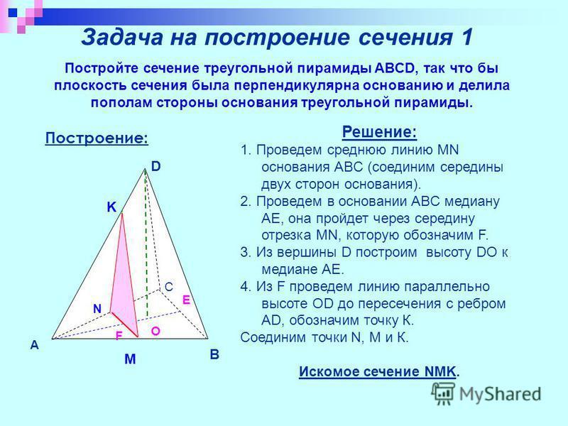 Задача на построение сечения 1 Постройте сечение треугольной пирамиды ABCD, так что бы плоскость сечения была перпендикулярна основанию и делила пополам стороны основания треугольной пирамиды. A B D C F O E N M K Построение: Решение: 1. Проведем сред