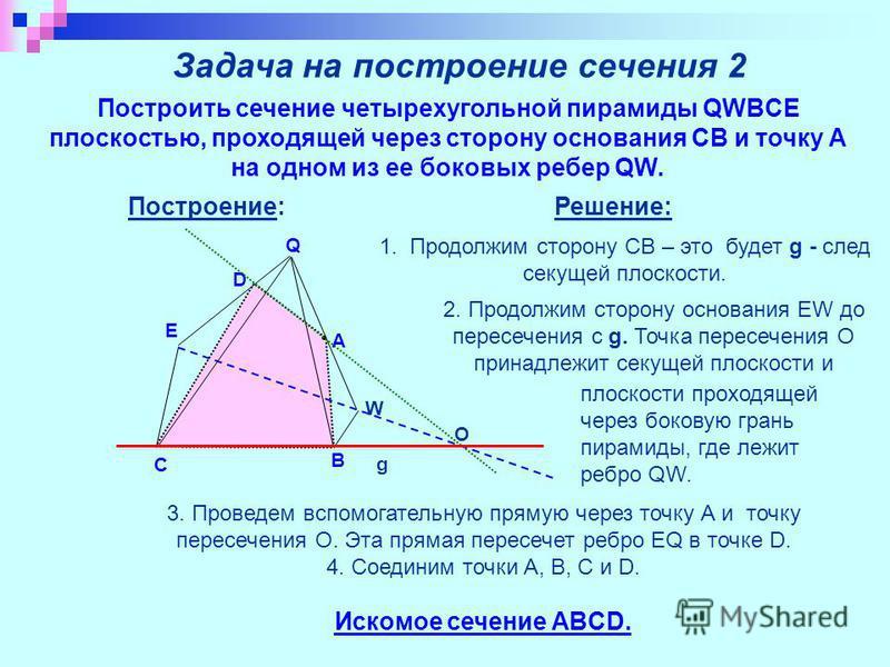 Задача на построение сечения 2 Построить сечение четырехугольной пирамиды QWBCE плоскостью, проходящей через сторону основания CB и точку А на одном из ее боковых ребер QW. Решение: g A B C D Q W E О 2. Продолжим сторону основания EW до пересечения с