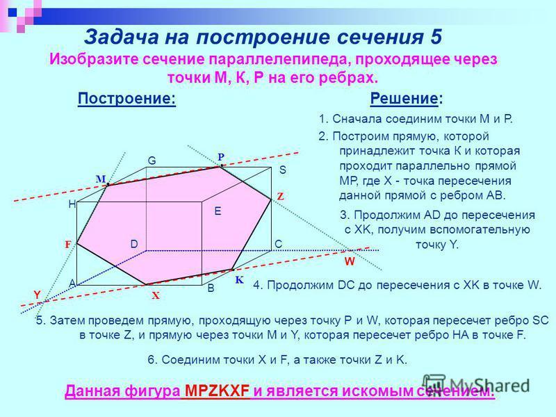 Задача на построение сечения 5 Изобразите сечение параллелепипеда, проходящее через точки М, К, Р на его ребрах. M P K A B C S G H D Z X F W E Y Построение: Решение: 1. Сначала соединим точки М и Р. 2. Построим прямую, которой принадлежит точка К и к