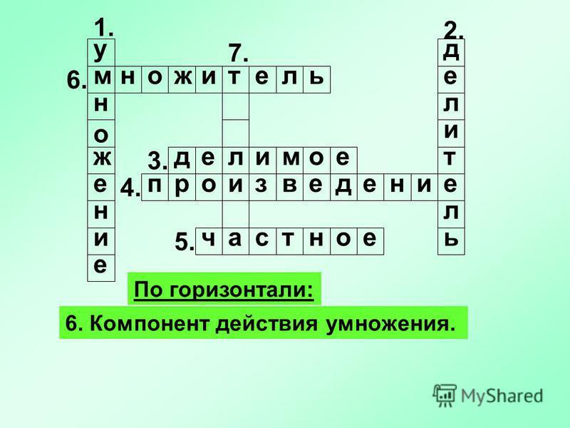 1. По горизонтали: 6. Компонент действия умножения. у м н о ж е н и е 2. 5. 4. 3. 7. делитель едеомил рпвзиоднеие 6. частное ммножитель
