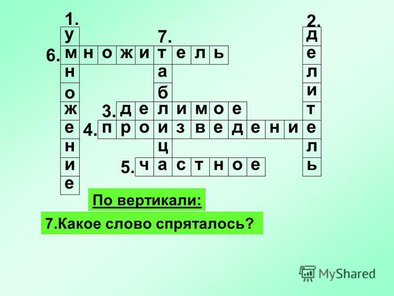 1. По вертикали: 7. Какое слово спряталось? у м н о ж е н и е 2. 5. 4. 3. 7. делитель едеомил рпвзиоднеие 6. частное ммножитель а б ц