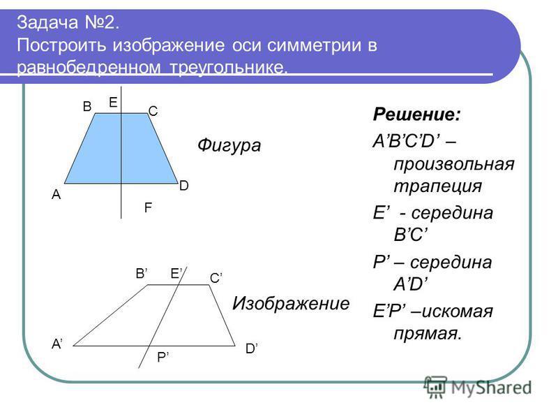 Задача 2. Построить изображение оси симметрии в равнобедренном треугольнике. Решение: ABCD – произвольная трапеция Е - середина BC P – середина AD EP –искомая прямая. A B C D E F Фигура A B C D E P Изображение